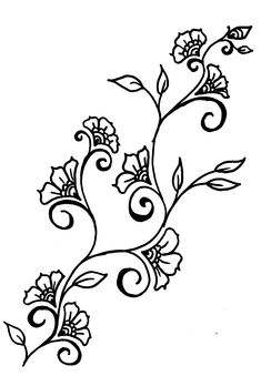Drawings of rosd vines | Henna-inspired Design Ideas