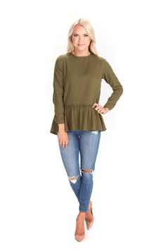 Olive Ruffle Top – Rachel Parcell, Inc.