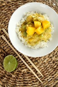 Fruchtiges Mango-Hähnchen-Curry mit Reis
