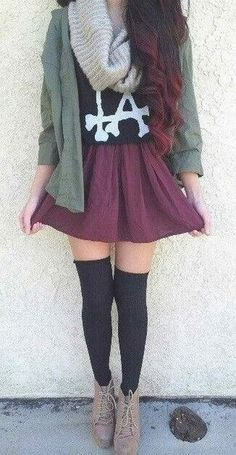 brandy Melville outfit thigh highs with booties