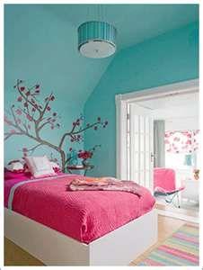 hobby room idea- walls aqua, accent with pink