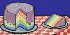 Rainbow cake, detail from illustration by Alisa Perks. Gouache, Coasters, Rainbow, Detail, Cake, Illustration, Painting, Rain Bow, Rainbows