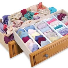 Great way to organize your drawers - Dream Drawer Expandable Spring Loaded Drawer Dividers (Set of 2) - BedBathandBeyond.com