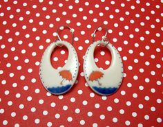 Parasol Collection { Bright Red Parasol + Puddle Porcelain Hoop Earrings }  by SweetMudClayWorks, $64.00