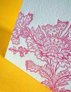Nice alternative to a lovey-dovey V-day card...       Stylized flower letterpress card by 622press on Etsy, $3.00