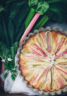 Easy rhubarb cake. Made with half gluten free flour and half chestnut flour. Really delicious - best cake he had ever eaten, my son claimed.