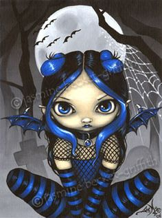 Pipistrello Bat Fairy - Jasmine Becket-Griffith bats art big eyes girl gothic fairy bat wings pipistrello pipistrelle by Strangeling fantasy art Gothic Fantasy Art, Gothic Fairy, Dark Fantasy, Dragons, Kobold, Cute Paintings, Fairy Paintings, Fairy Pictures, Eye Art