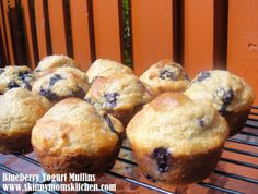 Blueberry Yogurt Muffins made with Greek Vanilla Yogurt. So delicious and only 156 calories each!!