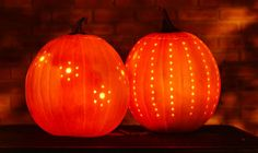 It turns out that drilled pumpkins are gorgeous if you need Halloween ideas! This has to be the easiest way I've seen to carve a fabulous pumpkin!!