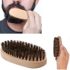 Natural Boar Bristle Beard Brush For Men Facial Face Massager Bristle Hair Shaving Brush Cepillo Barba Drop Shipping