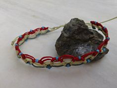 macrame anklet with perfect summer beads/ K.ompo.S- Handmade Jewel