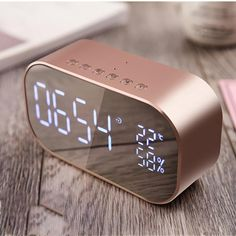Digital LED Mirror Set Alarm Clock with FM Radio and Wireless Bluetooth Portable digital LED mirror alarm clock with backlight, outdoor bluetooth speaker. built-in bluetooth wireless transmission Rose Gold Room Decor, Rose Gold Rooms, Gold Bedroom Decor, Design Bedroom, Wall Design, Bedroom Ideas, Led Mirror, Mirror Set, Set Alarm Clock