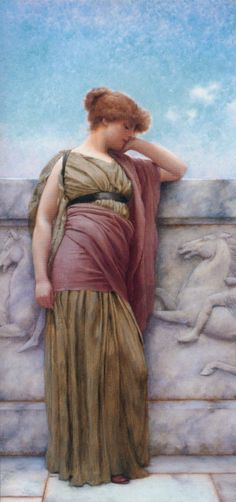 Leaning on the Balcony by John William Godward, Oil on canvas