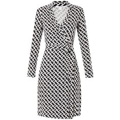 DIANE VON FURSTENBERG New Jeanne Two dress (€480) ❤ liked on Polyvore featuring dresses, dvf, black white, black and white wrap dress, black white dress, diane von furstenberg, diane von furstenberg dresses and chain print dress