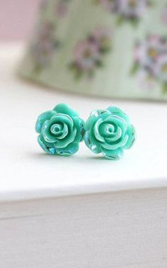 Iridescent Aqua Rose Stud Earring ~ Surgical Steel Post