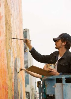 James Franco creating a mural inspired by his new film This is The End, in Los Angeles