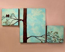 Bird/Tree triptych painting