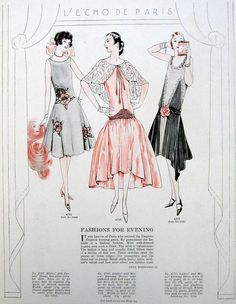 1927 Paris Evening Fashions Dress Art Deco illustration pattern ad - Vintage   ($9.00)