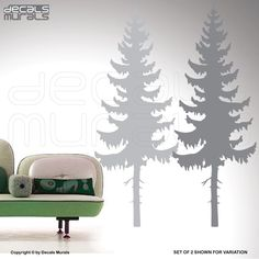Wall decals PINE TREE Vinyl art decor Nature wall stickers by Decals Murals. $67.00, via Etsy.