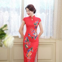 Shop elegant red silk blend floral cheongsam chinese style day dress. Find latest oriental fashion products from idreammart.com.