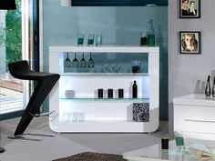 Sciae Floyd Contemporary High Gloss White Drinks Cabinet Bar with glasses and bar stool