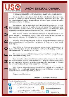 UNIÓN SINDICAL OBRERA DIPUTACIÓN DE SEVILLA: IV REUNIÓN PARITARIA CALENDARIOS SAN RAMON 27 DE F...