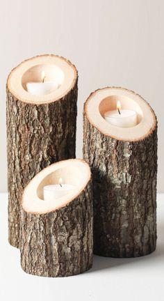 Tree branch wood bark - tea light candle votive holder set #product_design