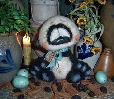 "Primitive Spring Easter Panda 6"" Cub Doll Vtg Patti's Ratties Bear Rabbit Artist"