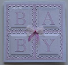 Baby Cards Baby card using Nestabilities 'Lacy Squares' and small squares – bjl Baby Boy Cards, New Baby Cards, Karten Diy, Spellbinders Cards, Cricut Cards, Marianne Design, Baby Scrapbook, Kids Cards, Cute Cards