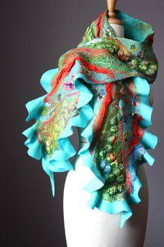 Nuno Felted scarf  Wool  silk  ruffled Green by VitalTemptation, $135.00