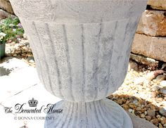 The Decorated House: ~ How To Create a Faux Cement Paint Finish ~ Urn & Succulents Gardening