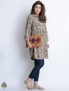 Buy Grey Ecru Natural Dyed Bagru Printed Cotton Tunic by Jaypore Apparel Tops & Dresses Online at Jaypore.com