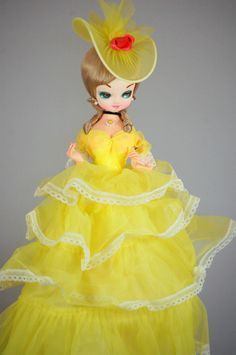 Vintage Bradley Big Eye Yellow Dress Collectible Doll