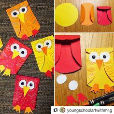 #Repost @youngschoolartwithmr.g (@get_repost) #etkinlikkurdu Easy Owl Paper Craft #youngschoolart #kidscraft #owlcraft #craftsforkids…