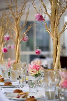 Dining Table from a Pink & Gold Christening Party via Kara's Party Ideas! KarasPartyIdeas.com (18)