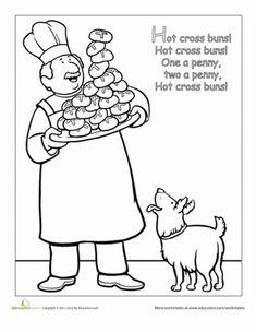 Preschool Nursery Rhymes Fairy Tales Worksheets: Nursery Rhyme Coloring: Hot Cross Buns