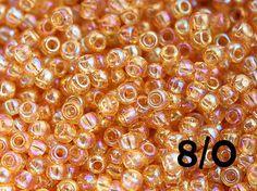 Seed beads, TOHO, size 8/0, Transparent Rainbow Medium Topaz, N 162B, rocailles - 10g - S647 by MayaHoney on Etsy