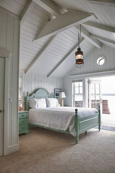 Sea Foam Green Bed w/ Bead Board Ceiling