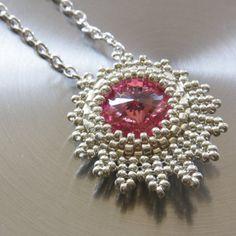 Necklace Pink Swarovski Pendant by vidrotecido on Etsy, $25.00