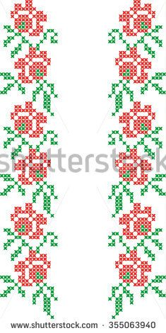 The vector embroidered flowers Cross Stitch Bookmarks, Cross Stitch Rose, Cross Stitch Borders, Cross Stitch Flowers, Cross Stitch Designs, Cross Stitch Patterns, Cutwork Embroidery, Cross Stitch Embroidery, Intarsia Patterns