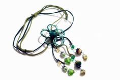 Swede Cord W Metal Flower and Semiprecious by BeatifulArtsyThings, $79.00