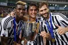 Pogba, Dybala, and Llorente celebrating the SuperCoppa title