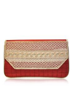 ALICE by designer Sobayha Accessories from sobayha.com.  A gorgeous flat quilted clutch, with gold lace embroidered detailing.  Available in: Red, Black, Orange, Green, Silver and Olive. See more at: https://www.sobayha.com/catalogue/alice_123/