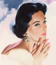 Jon Whitcomb (American, 1906-1988). Blue Eyes and BigEarrings. Gouache on board. 11.75 x 10.25 in. (sight). Signedlowe...