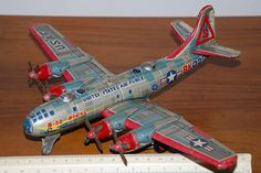 old toy airplanes | Japanese Yonezawa Friction United States Air Force Boeing B-29 Bomber ...