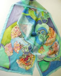 Hand dyed silk scarf - painted on ponge silk - Blue with decorative blooms - 45x180. $75.00, via Etsy.
