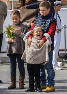 (L-R) Danish Princess Isabella,  Prince Christian and Princess Josephine during official visit to Greenland with their parents on 04.08.2014