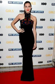 At the UK premiere of Girls season three, Allison Williams wore a floor-length Alexander McQueen gown with a colourful embroidered neckline.