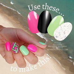 Sassy Nails, Cute Nails, Pretty Nails, Nail Color Combos, Nail Colors, Girls Nails, Neon Nails, Nail Polish Strips, Nail Bar