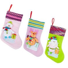 Christmas Stockings for Kids Christmas Decorations Cute Christmas Stocking Set of 3 Xmas Gift Candy Bags Socks Santa Snowman Reindeer 3D Embroidered by Kingyee Kids (12 Inch)